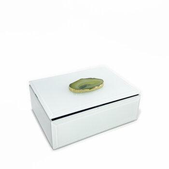 Caixa de Vidro Branca Com Pedra Agata Verde