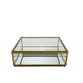 Caixa de Vidro Com Detalhe Dourado