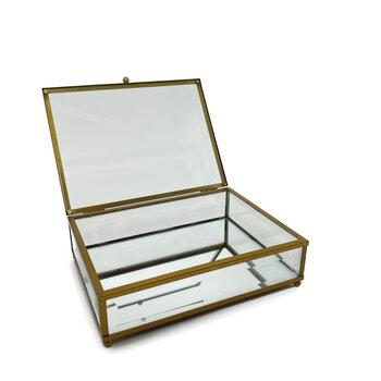 Caixa de Vidro Detalhes Dourado