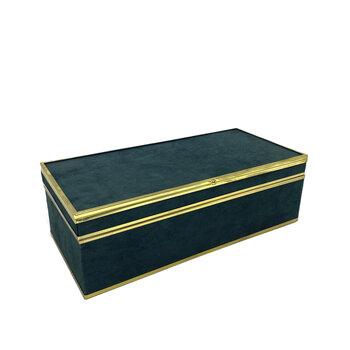 Caixa de Vidro e Veludo Verde Com Detalhes Em Dourado