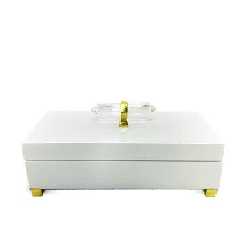 Caixa Laca Branca Com Alça de Pedra Sintética 28cm X 13,5cm X 12,5cm