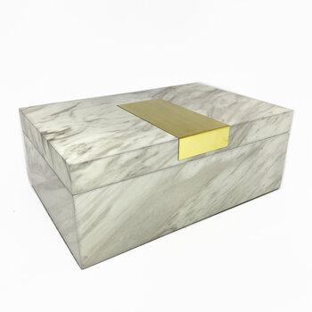 Caixa Madeira Marmorizada Branco G