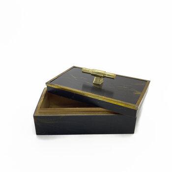Caixa Resina Marmore Marrom Com Dourado Envelhecido