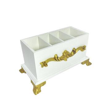 Porta Controle Provençal Branco Com Dourado