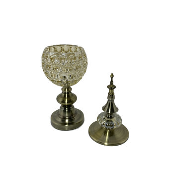 Potiche Pinha de Metal e Vidro Decor Bronze