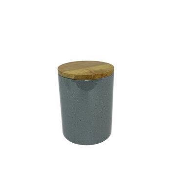 Potiche Porcelana Granilite Cinza Com Tampa de Madeira