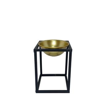 Cachepot Dourado Em Metal Com Suporte