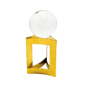 Esfera Em Vidro Com Suporte Dourado Médio