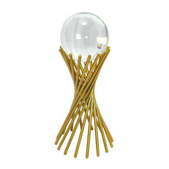 Esfera Em Vidro Com Suporte Ouriço Dourado
