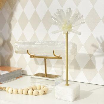 Escultura de Cristal Selenita Em Formato de Ouriço